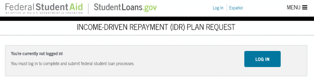U.S. Department of Education Income-Driven Repayment (IDR) Plan Request