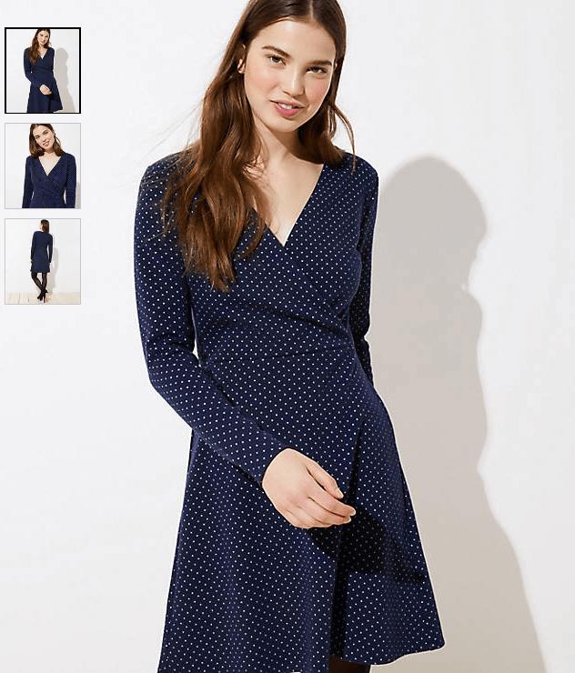 Geo Jacquard Knit Wrap Dress, LOFT