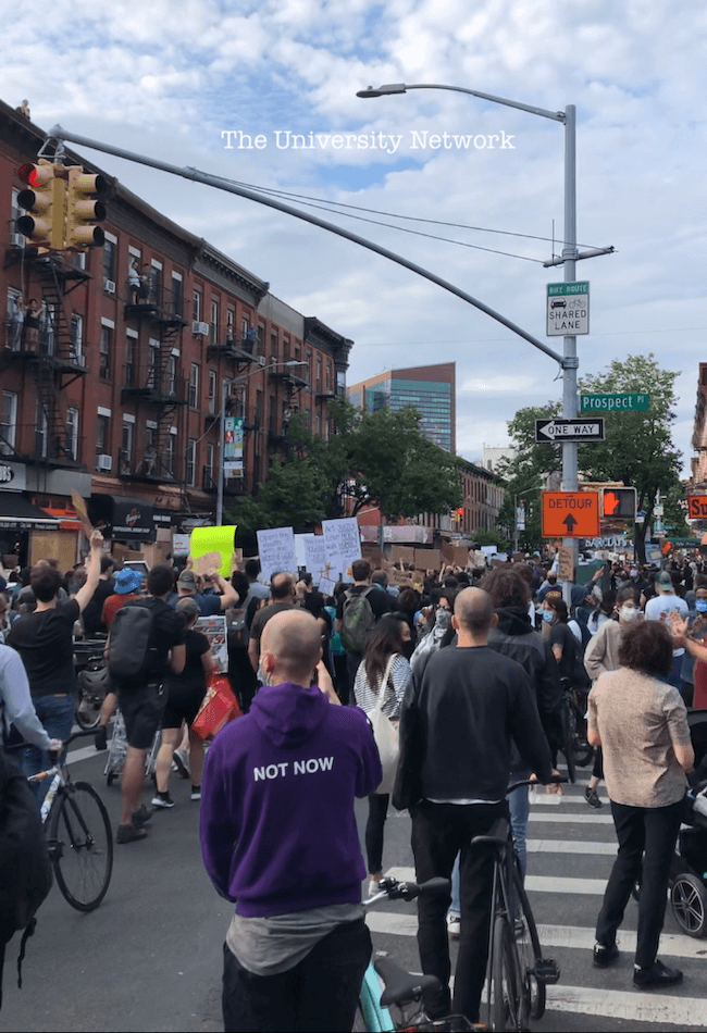 Brooklyn protesters march peacefully down 5th Ave in Park Slope on Tuesday.