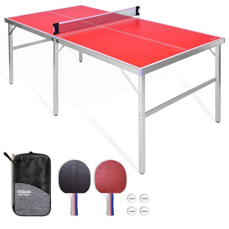 Tavolo da ping pong pieghevole da interno / esterno Wayfair con racchette e palline