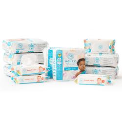Save $20 on 6 packs of stylish, super absorbent diapers + 4 packs of soft, plant-based wipes + get free shipping!