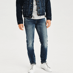 Save up to 60% off men's jeans at American Eagle. Great deals on  skinny jeans, slim jeans, straight leg jeans, raw jeans, bootcut jeans, boot cut jeans, dad jeans.