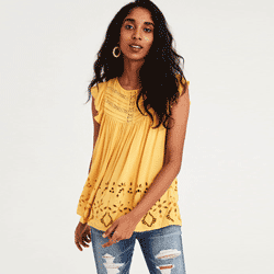 Save up to 60% off women's shirts, blouses, crop tops, halter tops, tube tops, and camisoles at American Eagle